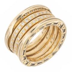 Bvlgari B.Zerol 1.00 Carat Diamond Three-Band Yellow Gold Ring