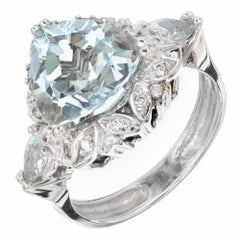 3.00 Carat Triangle Cut Aquamarine Diamond Halo Gold Engagement Ring
