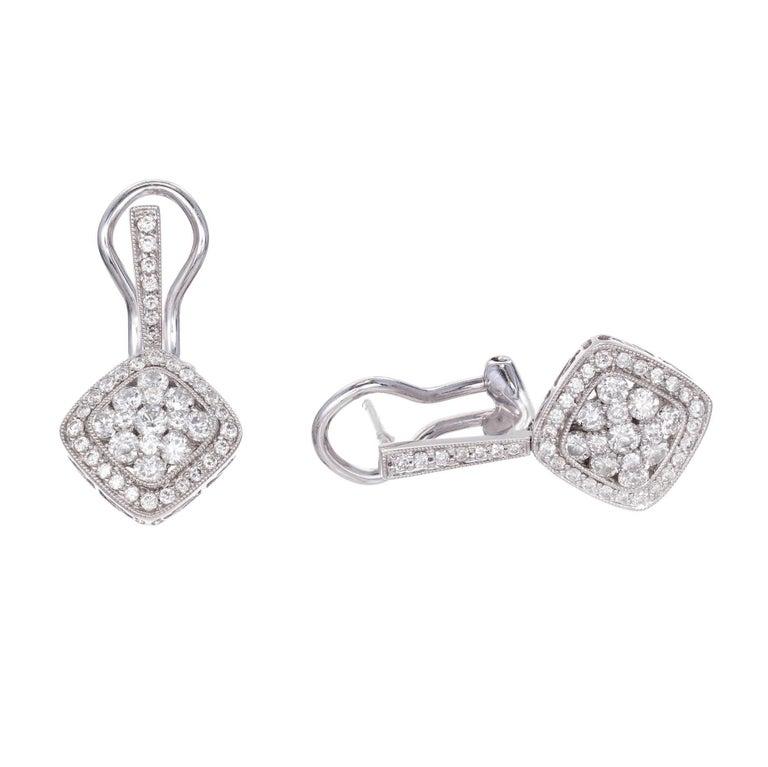 Gregg Ruth 1.20 Carat Diamond Cluster Gold Dangle Earrings