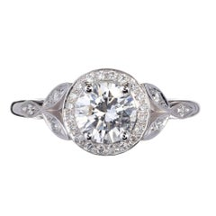 Peter Suchy 1.01 Carat Round Diamond Halo Engagement Platinum Ring