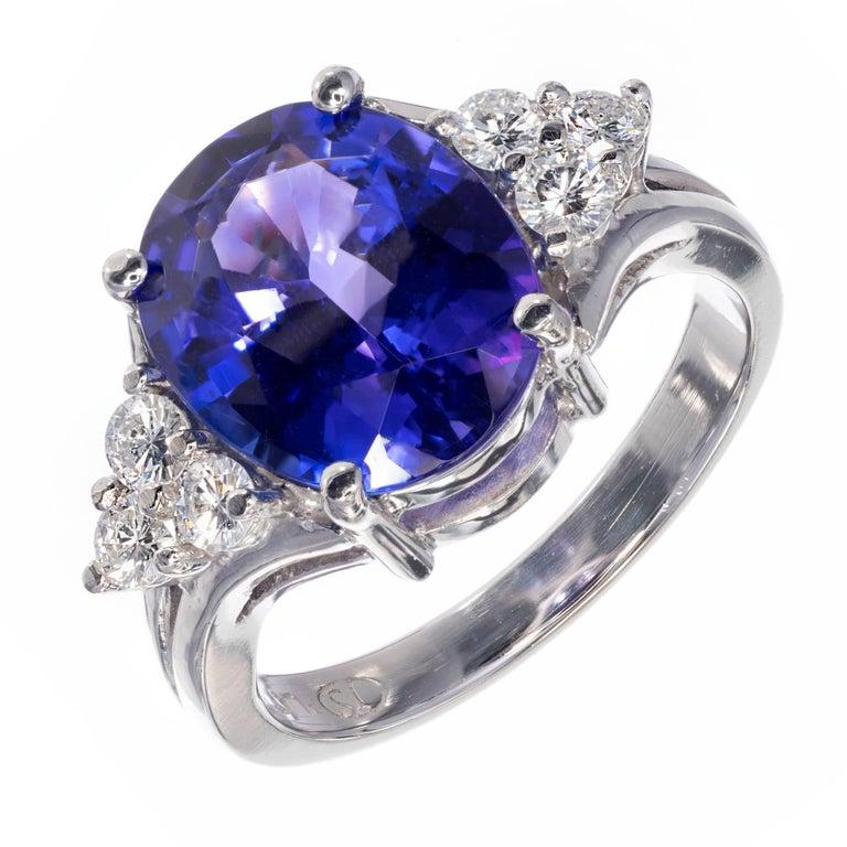 3.00 Carat Oval Bright Purple Blue Tanzanite Diamond Ring