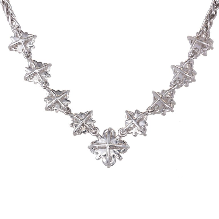Platinum Diamond graduate checkerboard design necklace with high grade full cut Diamonds in Platinum wire settings on a Platinum wheat chain. Unknown designer.  36 round full cut Diamonds, approx. total weight 1.60cts, F – G, VS 950 Platinum 20.8