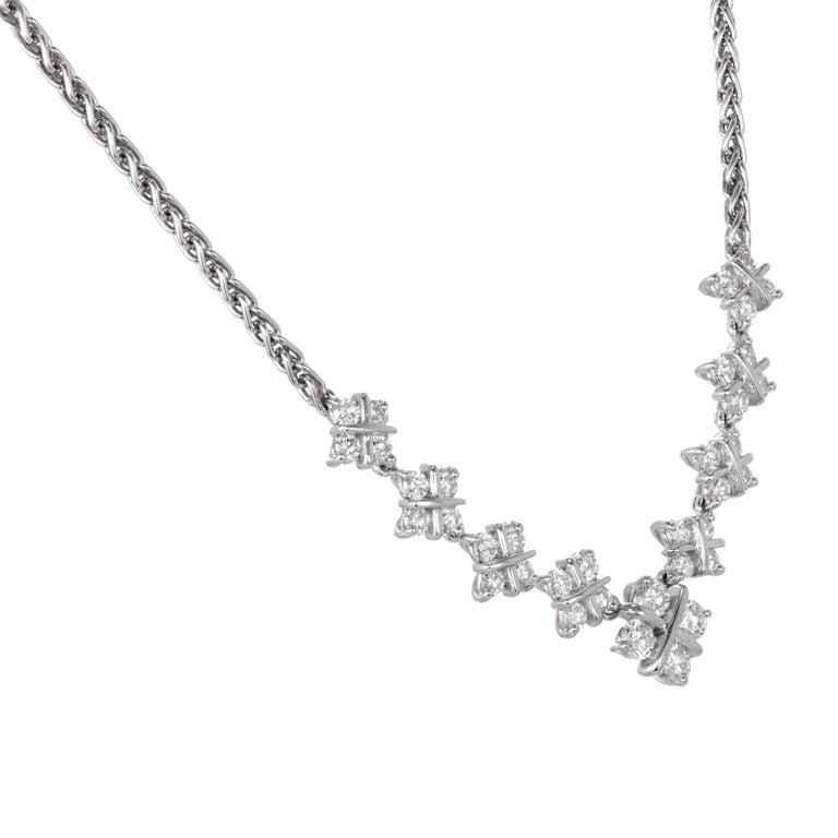 Round Cut 1.60 Carat Diamond Checkerboard Design Platinum Necklace For Sale
