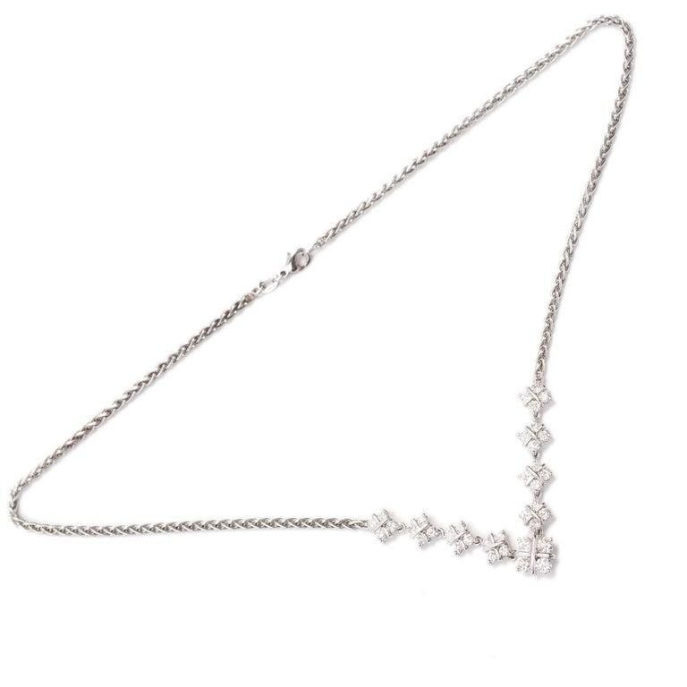 Women's 1.60 Carat Diamond Checkerboard Design Platinum Necklace For Sale