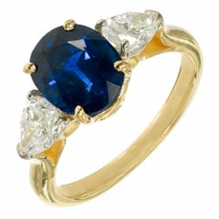 Peter Suchy 2.83 Carat Sapphire Diamond Gold Platinum Engagement Ring