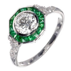 .72 Carat Diamond Emerald Halo Platinum Engagement Ring