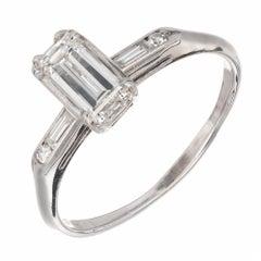 .60 Carat Emerald Step Cut Diamond Engagement Ring