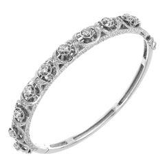 1.60 Carat Old European Cut Diamond Gold Bangle Bracelet