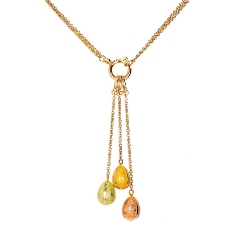 Modern Made In Germany Faberge Three-Color Egg Enamel Gold Pendant Necklace