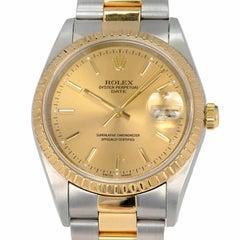Rolex Yellow Gold Stainless Steel Datejust Wristwatch Ref 15223