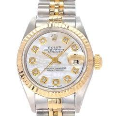 Rolex Ladies Yellow Gold Stainless Steel Date Just Wristwatch Ref 69173