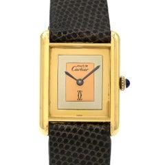 Must De Cartier Gold Plate Sterling Silver Tricolor Dial Manual Wristwatch