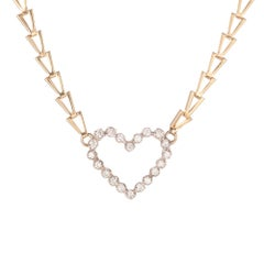 .70 Carat Diamond Heart Two-Tone White Yellow Gold Pendant Necklace