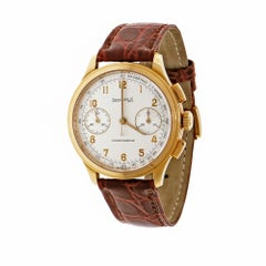 Eberhard & Co. Yellow Gold Old Flyer Chronograph Manual Wristwatch Ref 30056