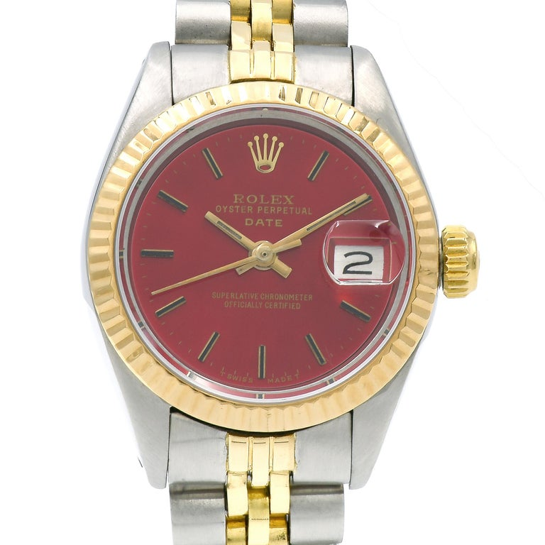 Rolex Ladies Yellow Gold Stainless Steel Red Dial Datejust Automatic Wristwatch