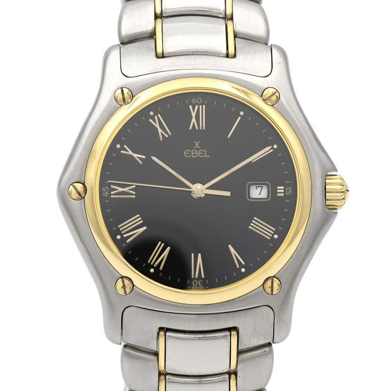 Ebel Yellow Gold Stainless Steel 1911 Black Dial Quartz Wristwatch
