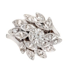 Diamond Flower White Gold Cluster Cocktail Ring