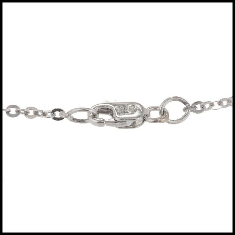 Round Cut White Black Diamond White Gold Pendant Drop Necklace For Sale
