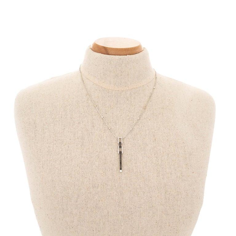 Women's White Black Diamond White Gold Pendant Drop Necklace For Sale