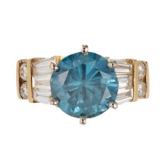 2.89 Carat Irradiated Blue Diamond Yellow Gold Engagement Ring