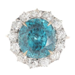 6.80 Carat Round Blue Zircon Diamond Halo Gold Platinum Engagement Ring