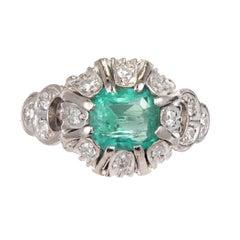.90 Carat Bright Green Emerald Diamond Platinum Victorian Engagement Ring