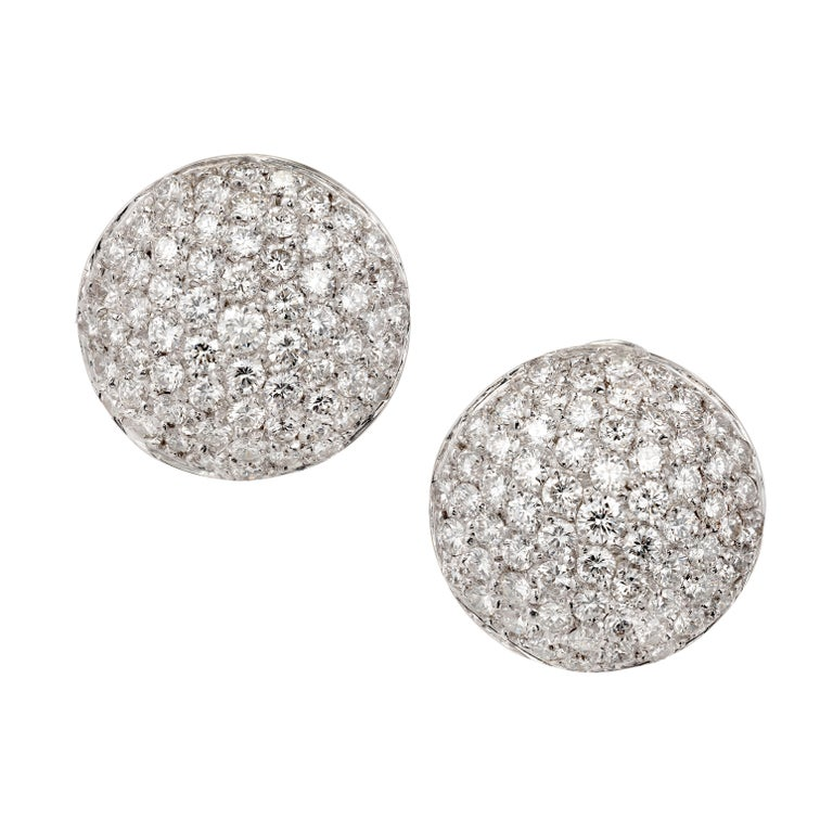 3.56 Carat Diamond Dome Cluster Gold Earrings