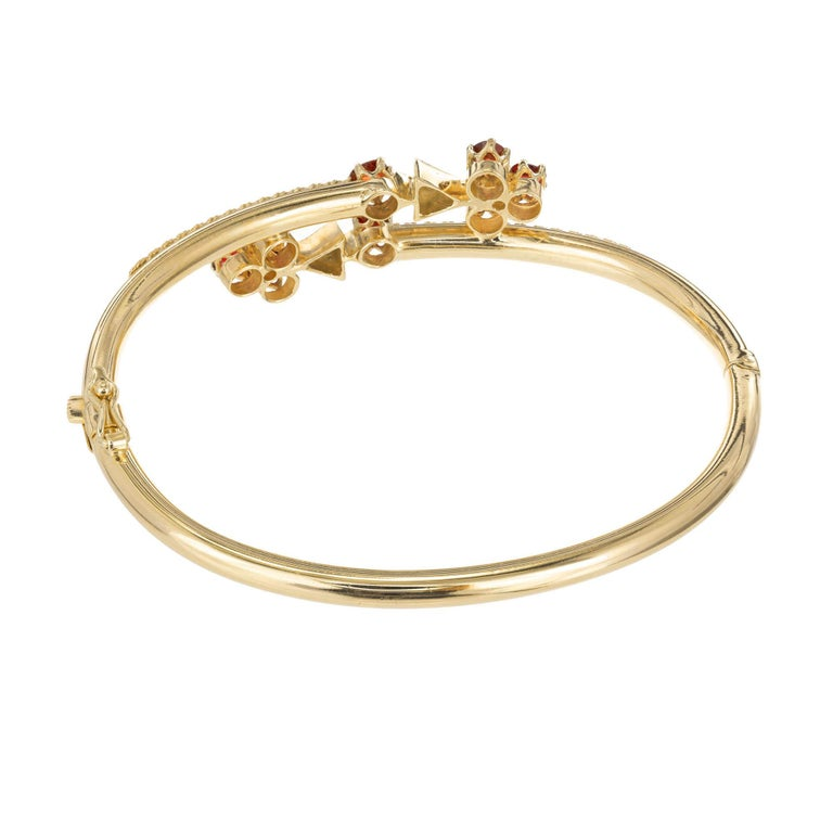 Old European Cut Diamond Garnet Yellow Gold Bangle Bracelet For Sale