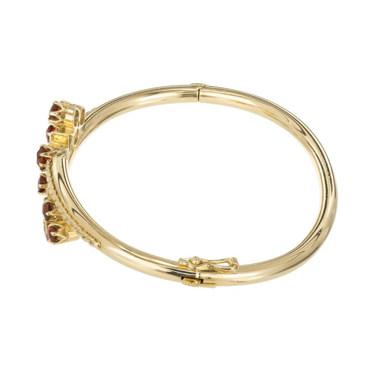 Diamond Garnet Yellow Gold Bangle Bracelet In Good Condition For Sale In Stamford, CT