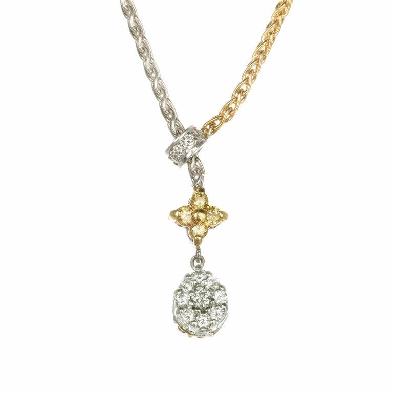 .85 Carat Yellow White Diamond Two-Tone Gold Drop Necklace