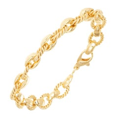Peter Suchy Fancy Yellow Gold Chain Oval Link Bracelet