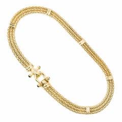 Onyx Italian Three-Row Italian Yellow Gold Necklace