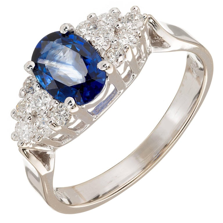 1.00 Carat Blue Oval Sapphire Diamond Gold Engagement Ring