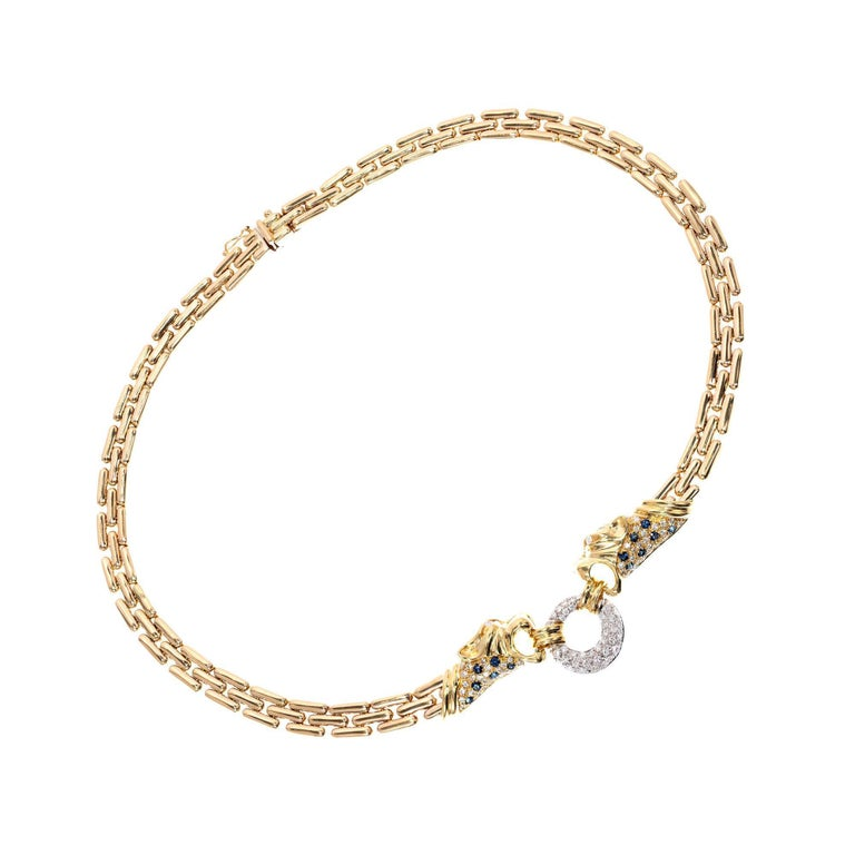 2.05 Carat Diamond Sapphire Panther Pave Gold Necklace