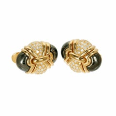 Bulgari Hematite Diamond Clip Post Yellow Gold Earrings
