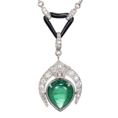 5.46 Carat Pear Emerald Diamond Pearl Onyx Pendant Necklace