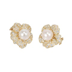 2.30 Carat Cultured Pearl Diamond Flower Design Gold Earrings