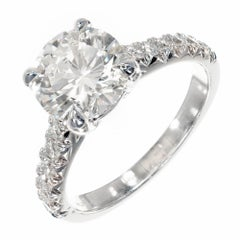 Peter Suchy GIA Certified 2.11 Carat Diamond Platinum Engagement Ring