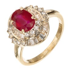 GIA Certified 1.70 Carat Ruby Diamond Yellow White Gold Engagement Ring