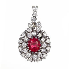 1.12 Carat Oval Ruby Diamond Halo Cluster Gold Pendant