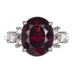 GIA Certified 6.12 Carat Garnet Diamond White Gold Engagement Ring