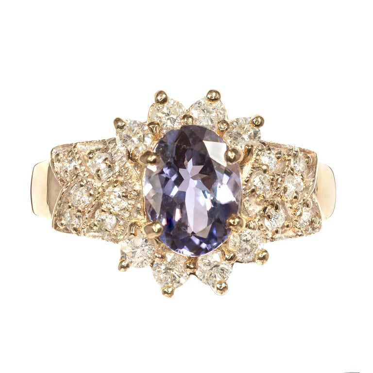 GIA Certified 1.57 Carat Oval Tanzanite Diamond Gold Engagement Ring