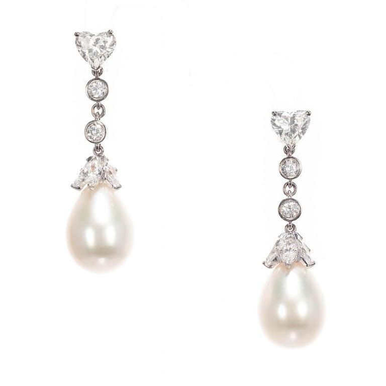 GIA Certified 1.89 Carat Diamond Pearl Platinum Gold Dangle Earrings