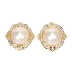 Mabe Pearl Diamond Halo Clip Post Earrings