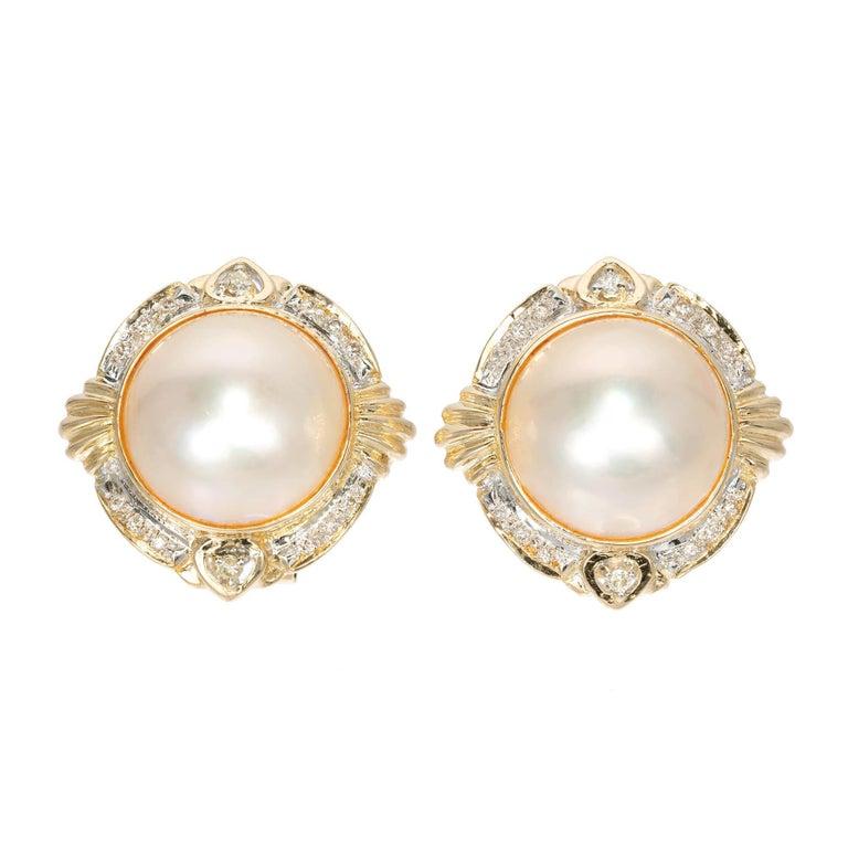 Mabe Pearl Diamond Halo Clip Post Earrings