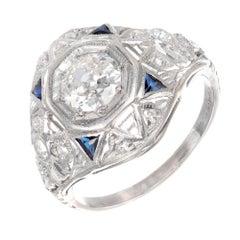 .49 Carat Diamond Sapphire Art Deco Platinum Engagement Ring