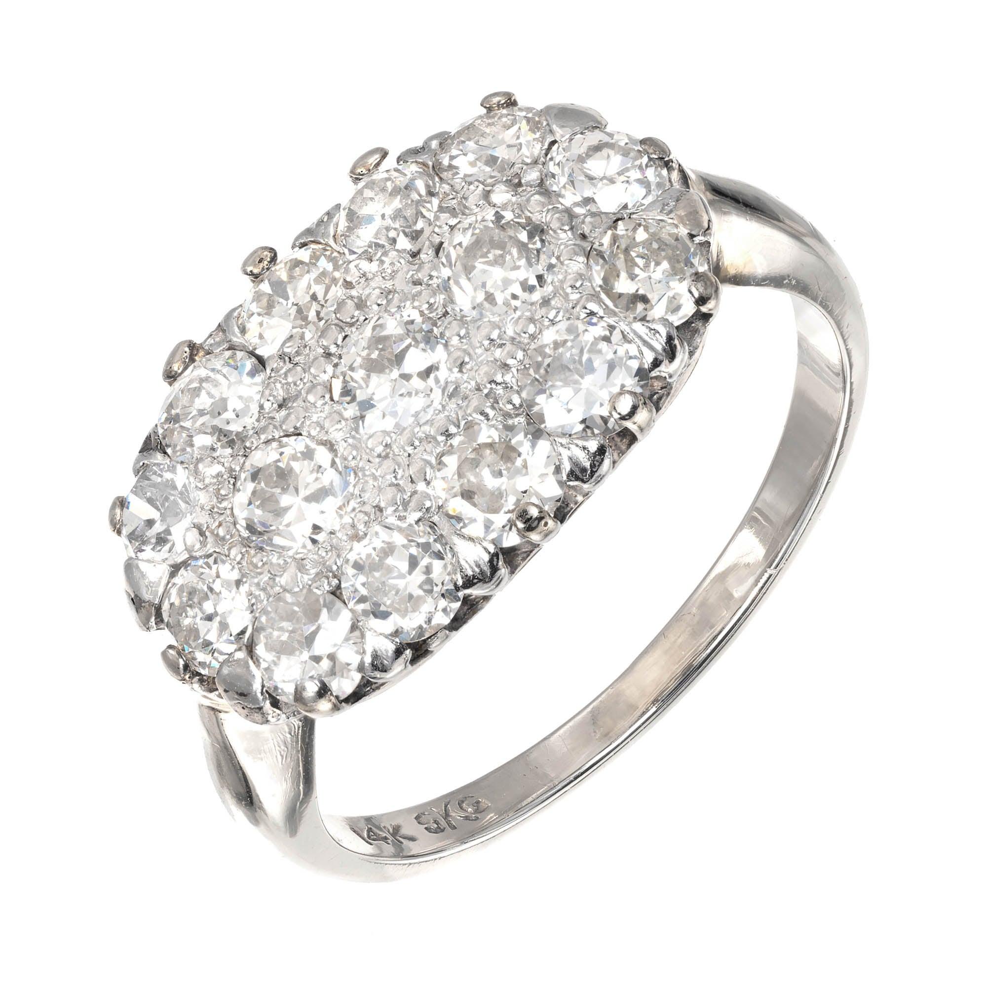 1.50 Carat Diamond White Gold Cluster Cocktail Ring