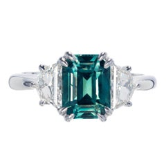 Peter Suchy 3.00 Carat Blue Green Sapphire Diamond Platinum Engagement Ring