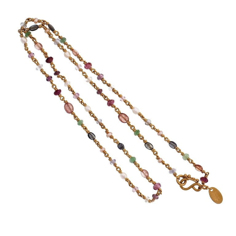 Robin Rotenier Ruby Sapphire Amethyst Emerald Pearl Yellow Gold Bead Necklace