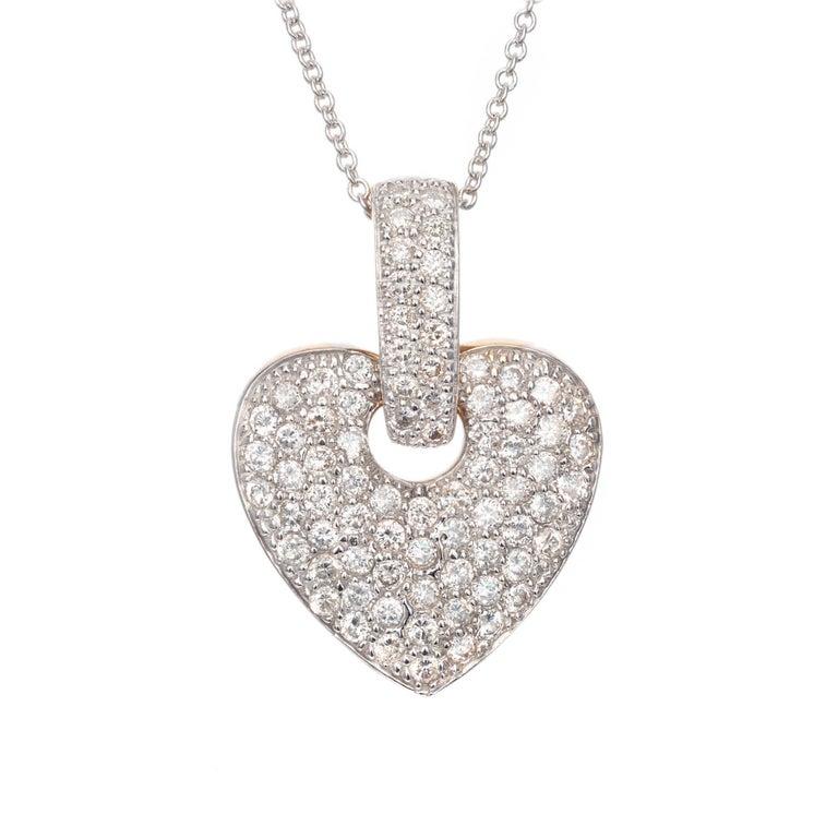 1.28 Carat Pave Diamond Yellow White Gold Pendant Necklace